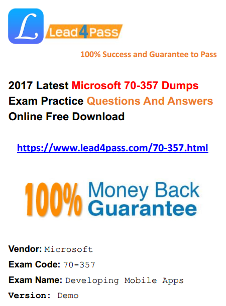 lead4pass 70-357 dumps